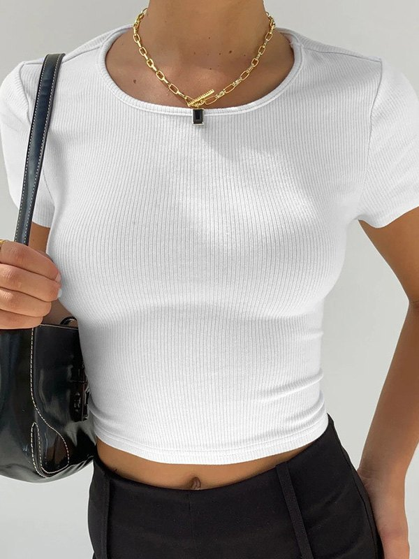 Open Back Ribbed Crop Top - White L