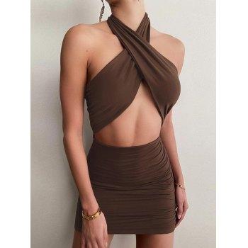 Cross Over Halter Mini Dress