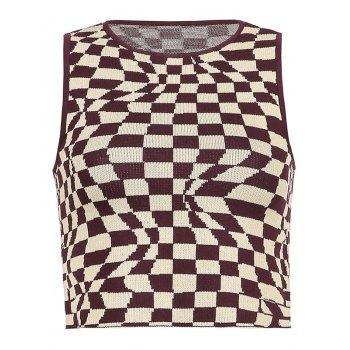 Checkered Print Crop Tank Top