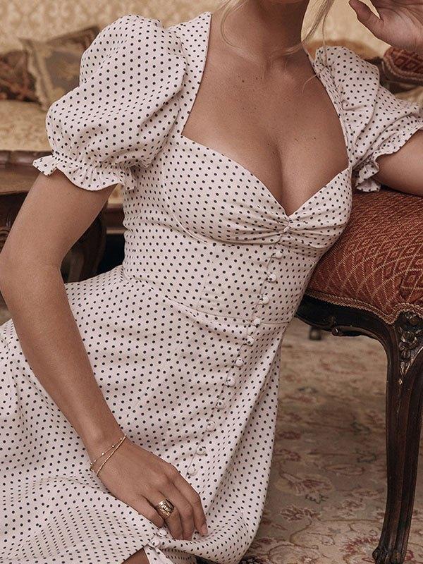 Vintage Polka Dot Maxi Dress - White M