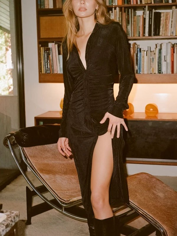Buttoned Long Sleeve Maxi Dress - Black S
