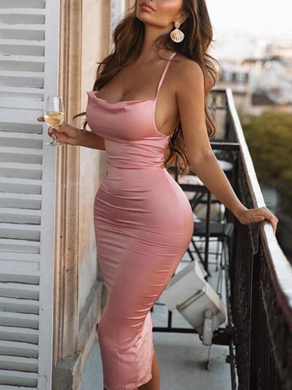 Satin Open Back Bodycon Maxi Dress - Pink M