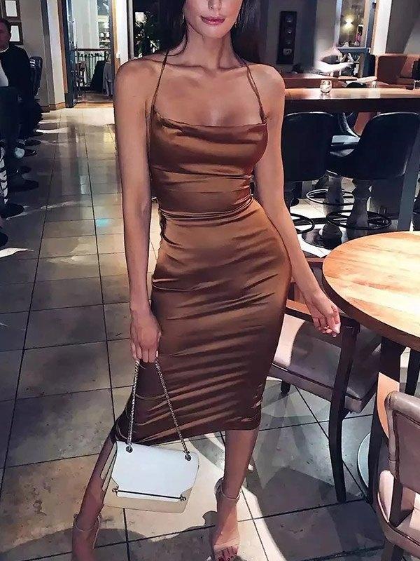 Satin Open Back Bodycon Maxi Dress - Brown S