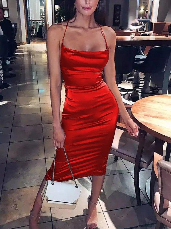 Satin Open Back Bodycon Maxi Dress - Red M