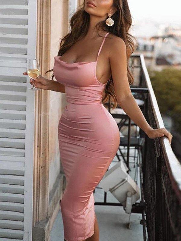 Satin Open Back Bodycon Maxi Dress - Pink L