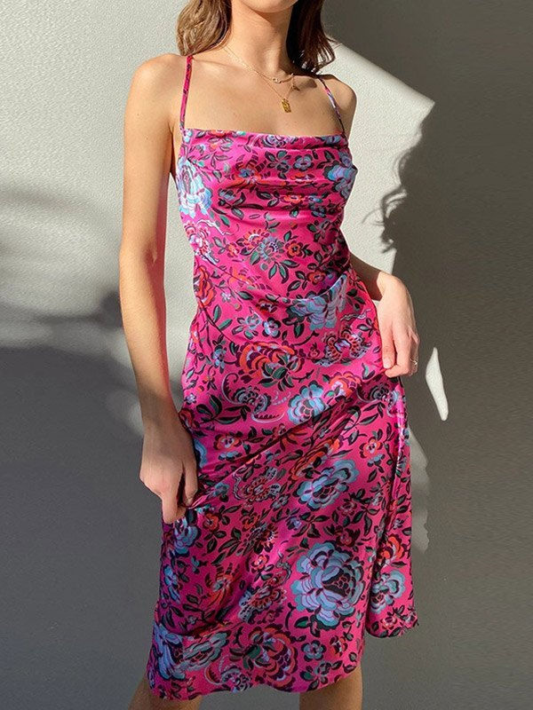 Floral Split Bodycon Maxi Dress - Pink S