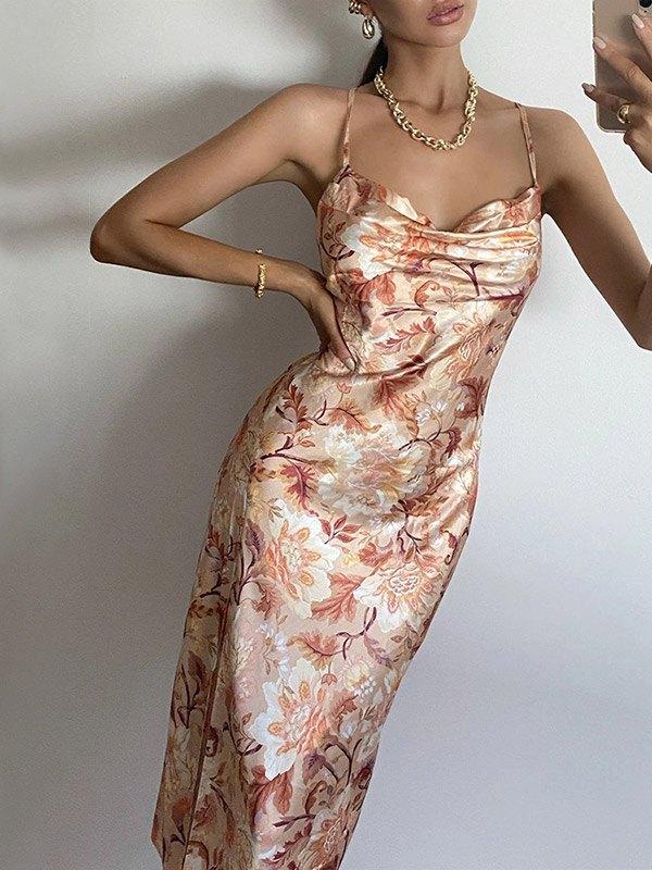 Open Back Floral Split Maxi Dress - Brown S