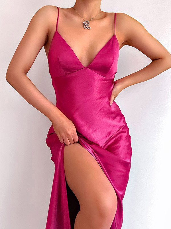 V Neck Satin Split Maxi Dress - Pink L