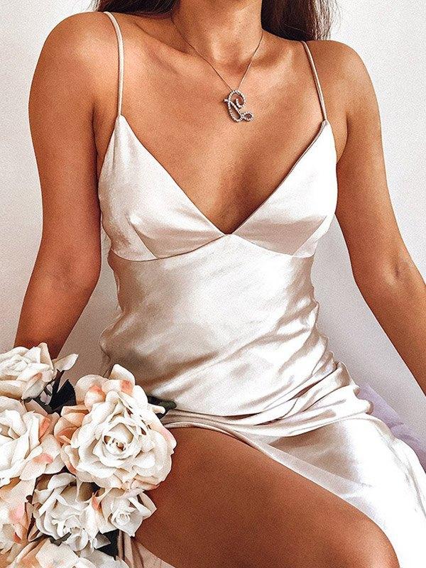 V Neck Satin Split Maxi Dress - White L