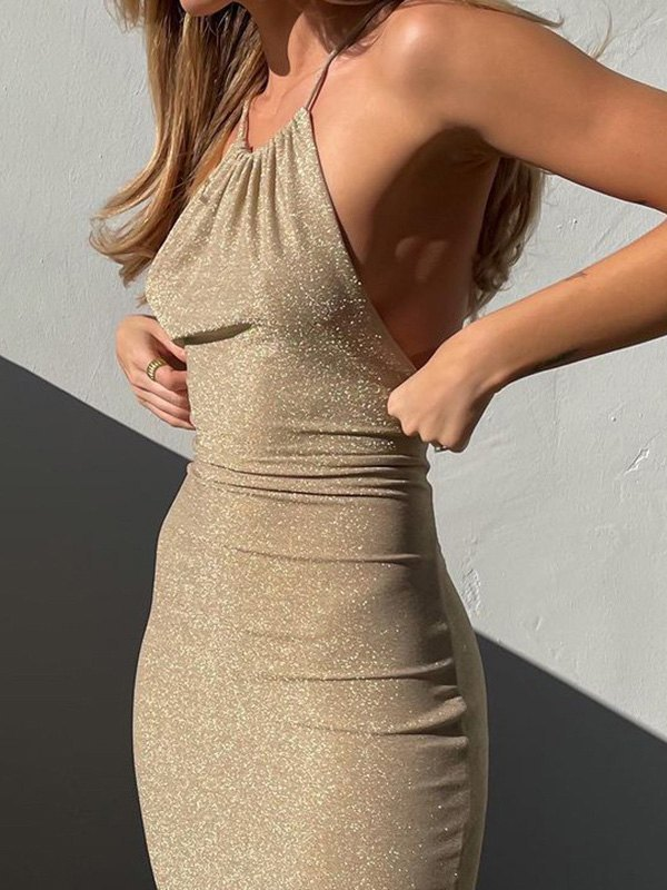 Glitter Halter Bodycon Party Maxi Dress - Camel S