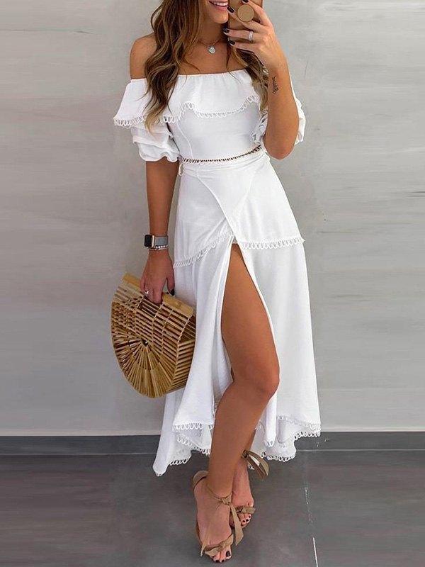 Off Shoulder Split Maxi Dress - White L