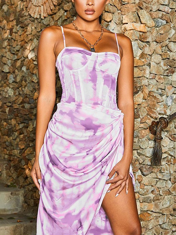 Irregular Tie-Dye Sling Maxi Dress - Purple L