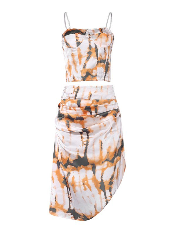 Irregular Tie-Dye Sling Maxi Dress - Yellow M