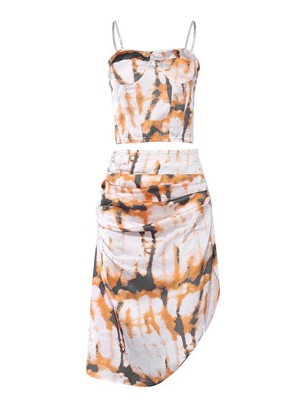 Irregular Tie-Dye Sling Maxi Dress - Yellow L