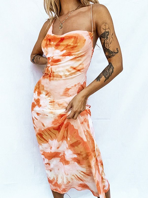Open Back Tie-Dye Maxi Dress - Orange M