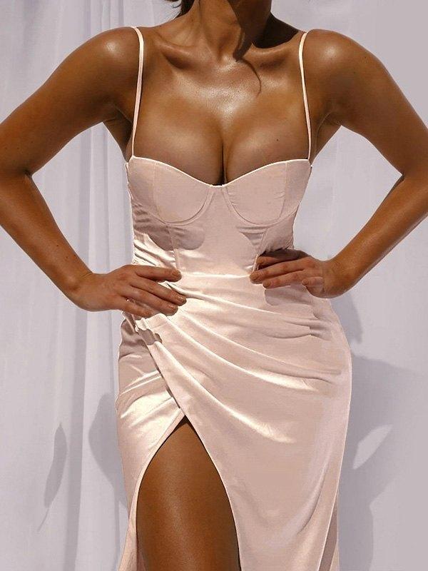 Split Bodycon Slip Maxi Dress - Apricot M