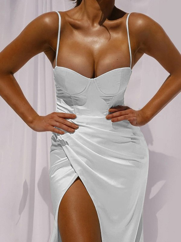 Split Bodycon Slip Maxi Dress - White S