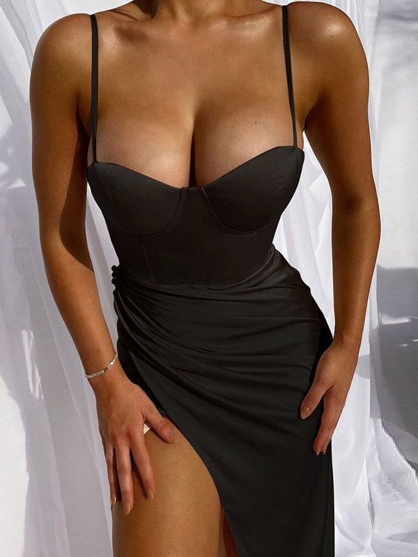 Split Bodycon Slip Maxi Dress - Black L