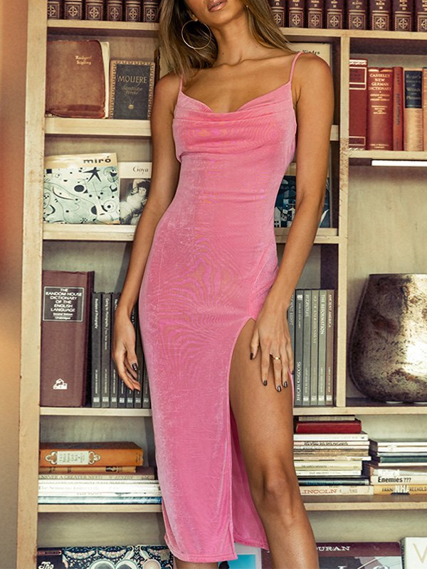 Cowl Neck Split Bodycon Maxi Dress - Pink M
