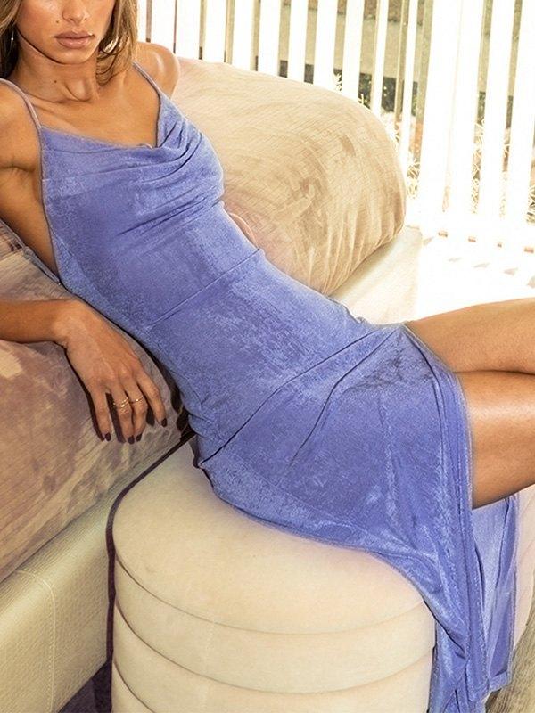 Cowl Neck Split Bodycon Maxi Dress - Blue M