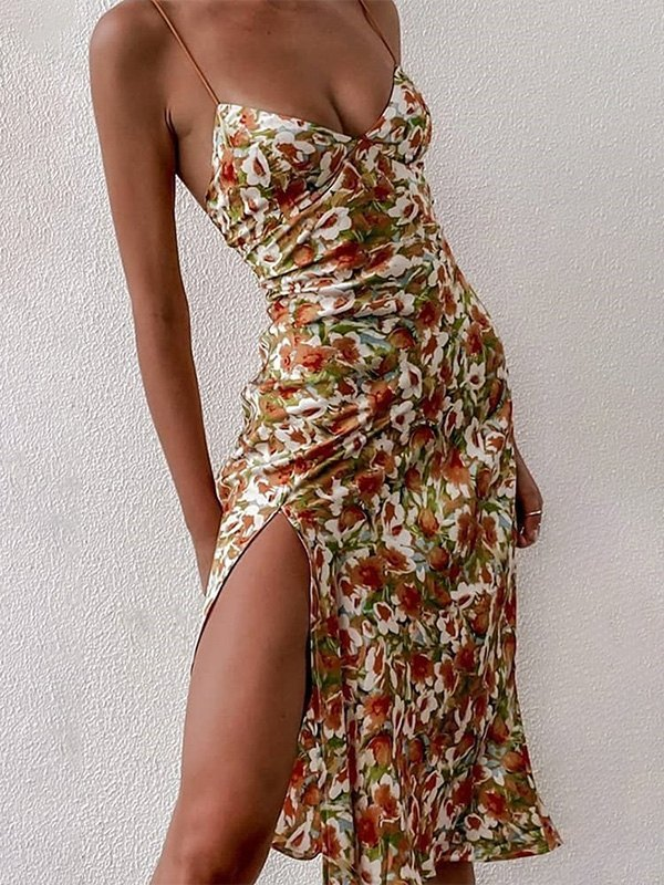 Floral Print Slit Maxi Dress - Brown 2XL