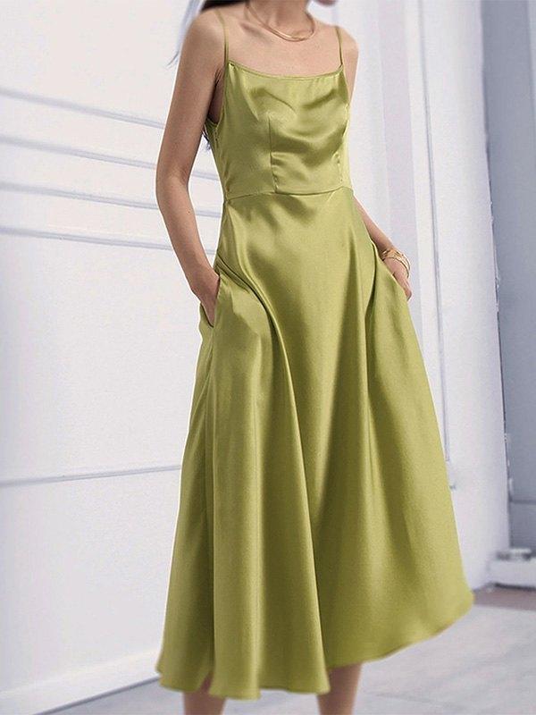 Satin Slip Swing Maxi Dress - Green M
