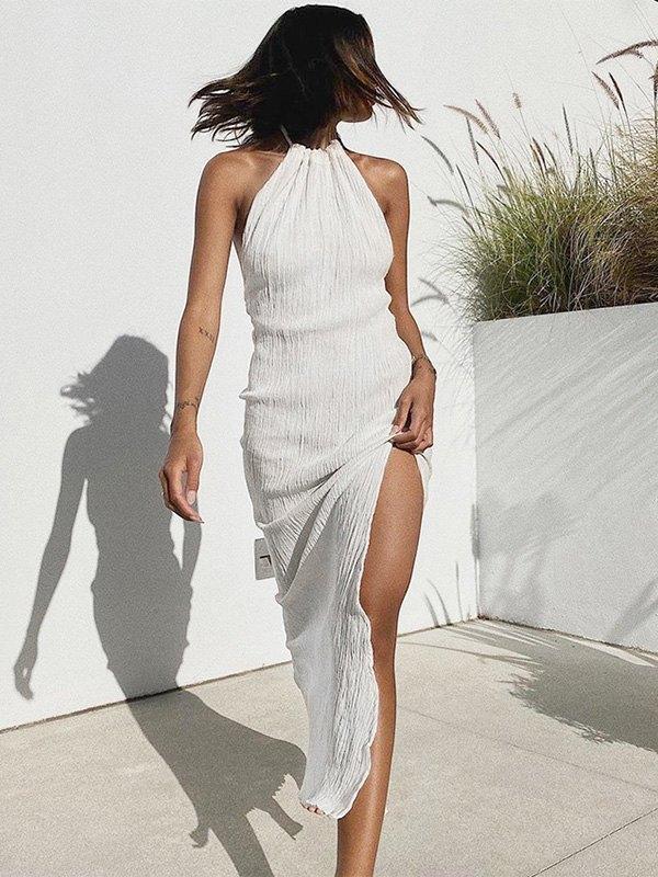 Crinkle Halter Slit Maxi Dress - White L