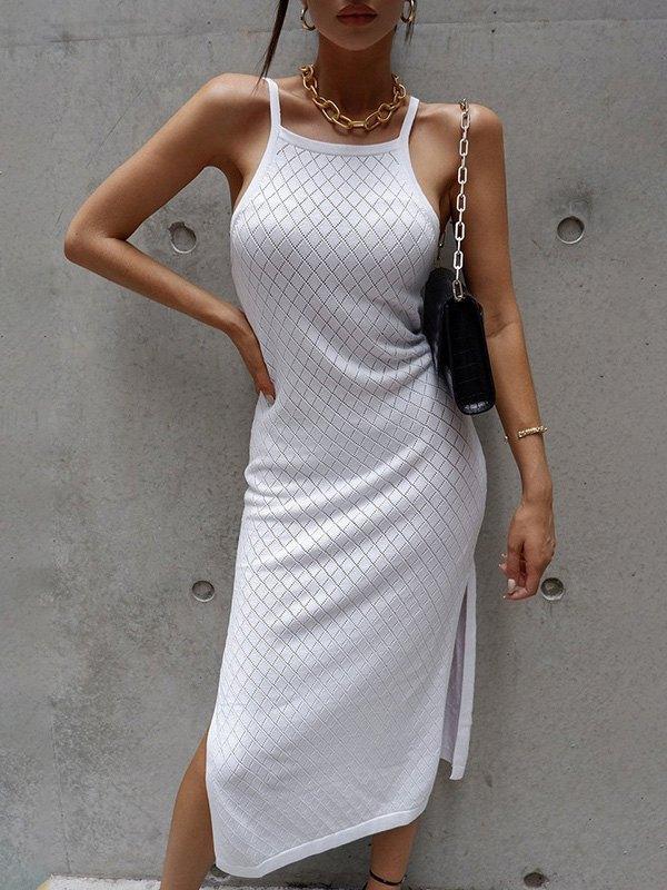 Woolen Slit Cami Maxi Dress - White ONE SIZE