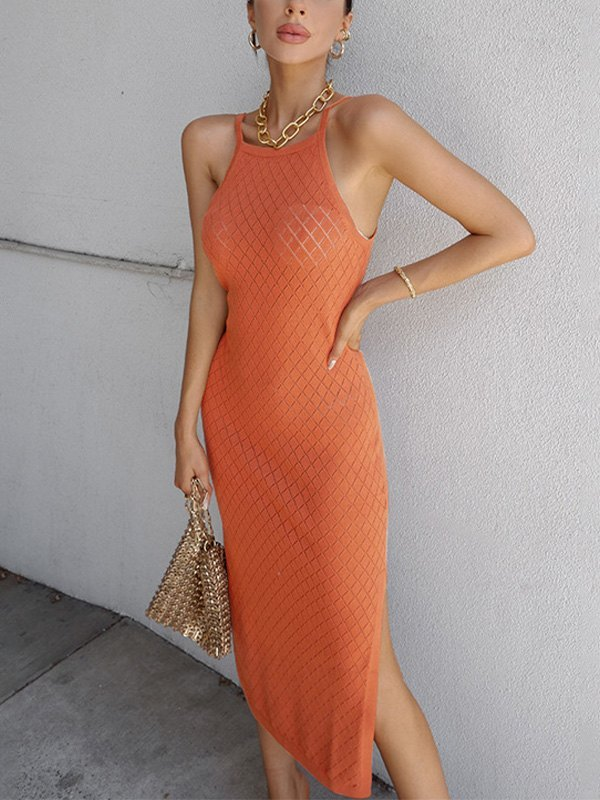 Woolen Slit Cami Maxi Dress - Orange ONE SIZE