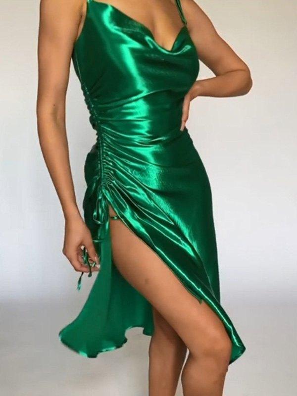 Satin Slit Midi Dress - Green M
