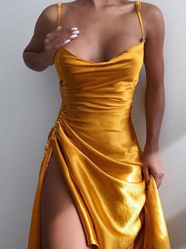 Satin Slit Midi Dress - Yellow L