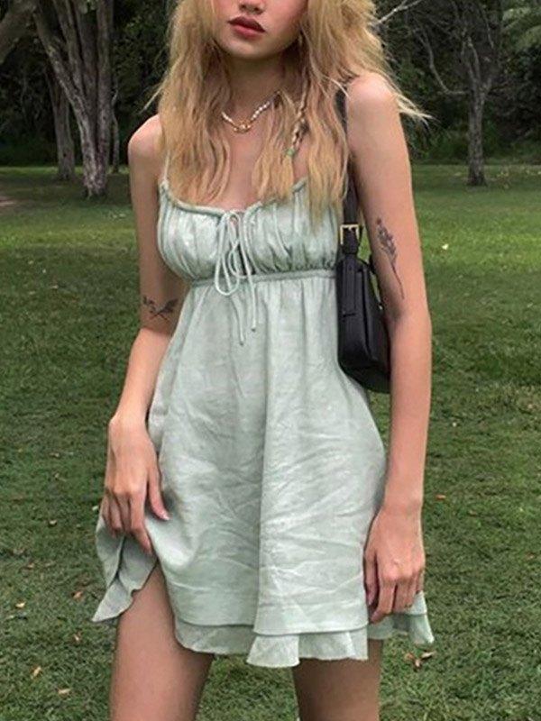 Open Back Ruffle Sling Mini Dress - Green S