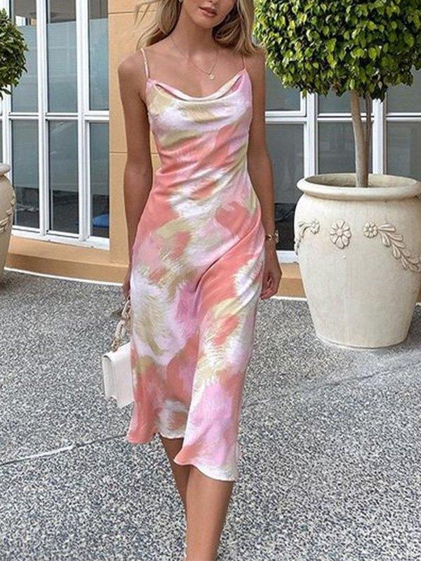 Blurred Sling Maxi Dress - Pink L