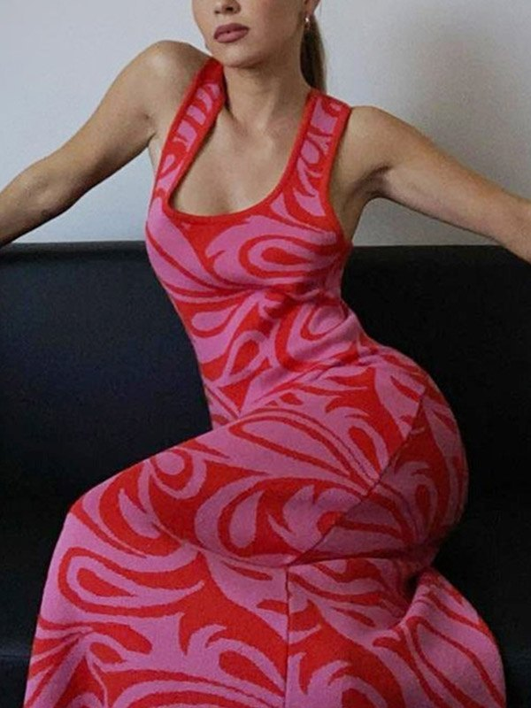 Cross Back Printed Knit Maxi Dress - Red M