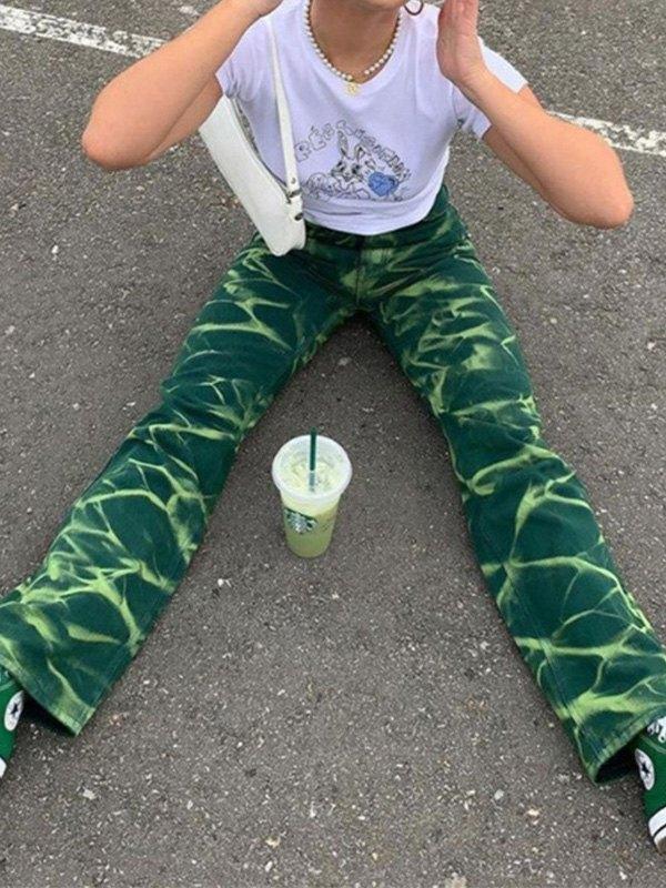 Creased Pattern Boyfriend Jeans - Green L