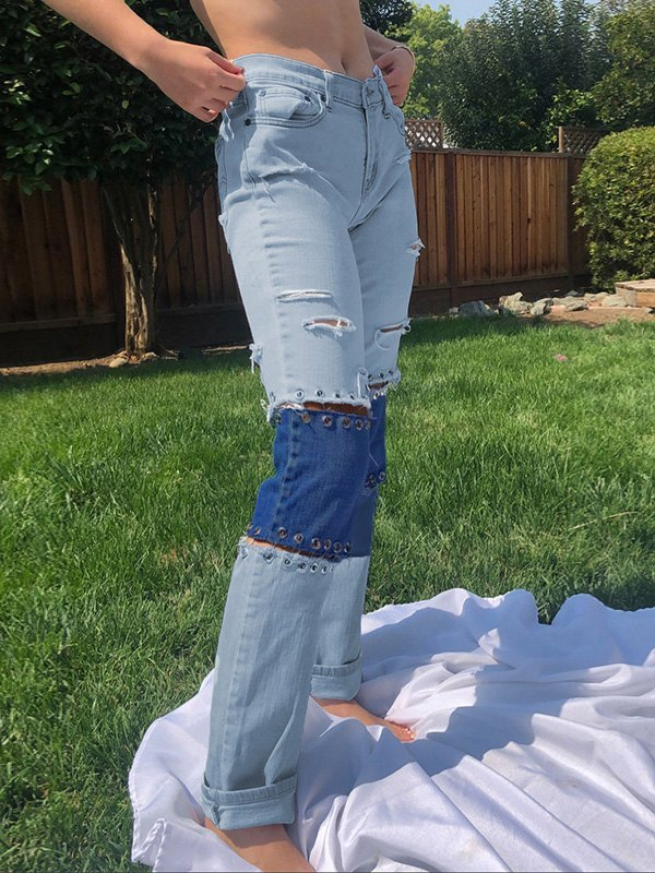 Safety Pin Patchwork Ripped Jeans - Blue S
