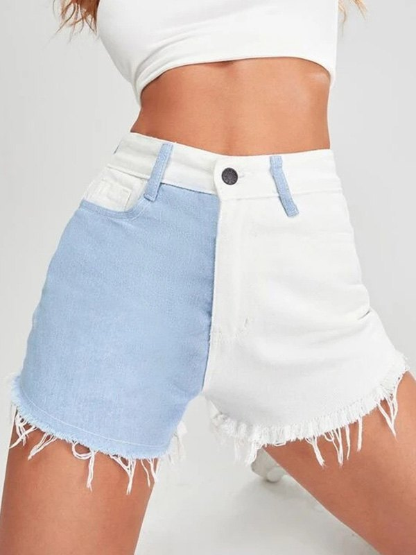 Two-Tone Distressed Denim Shorts - White S