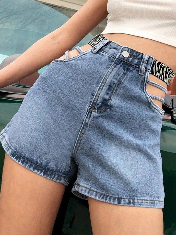 Washed Cutout Denim Shorts - Blue XS