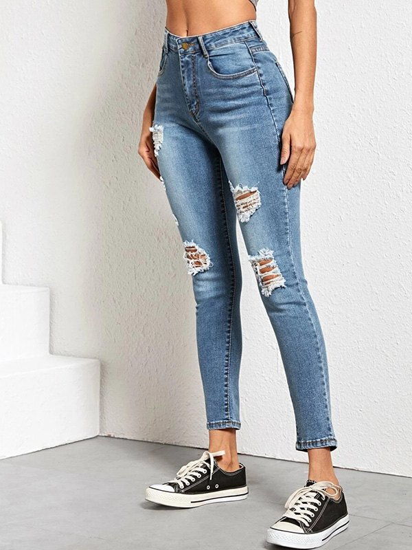 High Rise Skinny Ripped Jeans - Blue L
