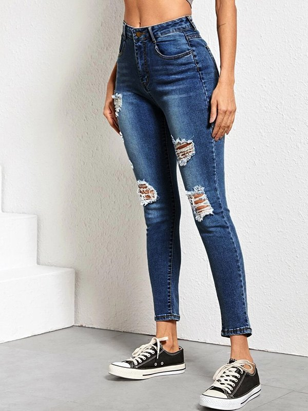 High Rise Skinny Ripped Jeans - Navy Blue M