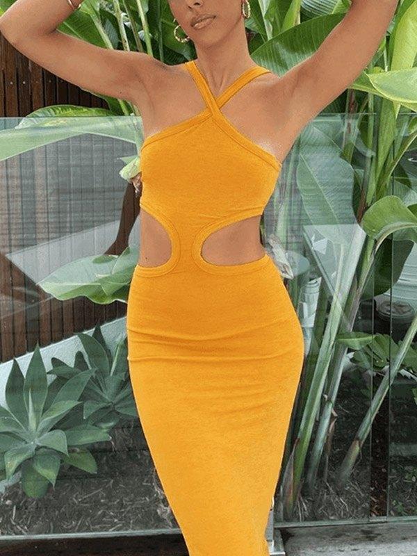 Bodycon Cutout Halter Maxi Dress - Yellow S