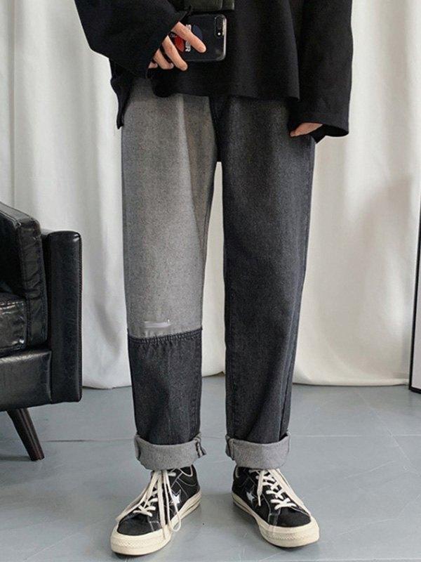 Men's Patchwork Straight Leg Jeans - Black 3XL