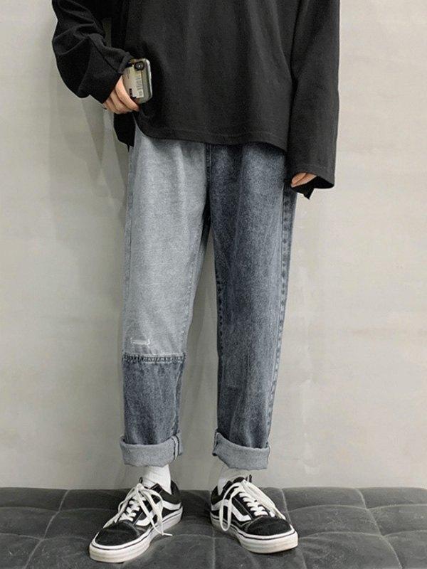 Men's Patchwork Straight Leg Jeans - Blue 3XL