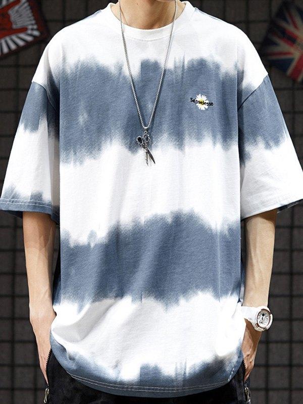 Men's Tie-Dye Stripe Crew Tee - White XL