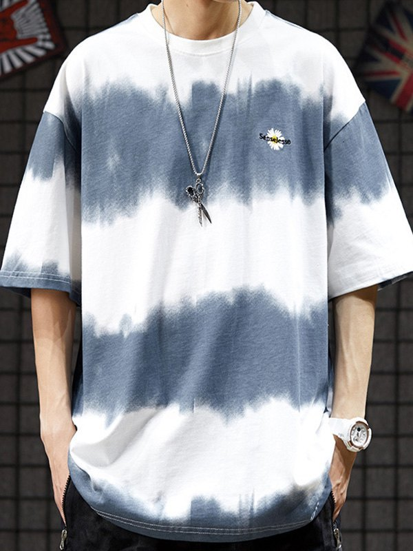 Men's Tie-Dye Stripe Crew Tee - White L