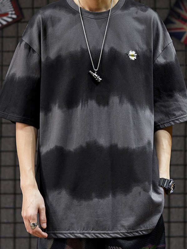 Men's Tie-Dye Stripe Crew Tee - Gray 2XL
