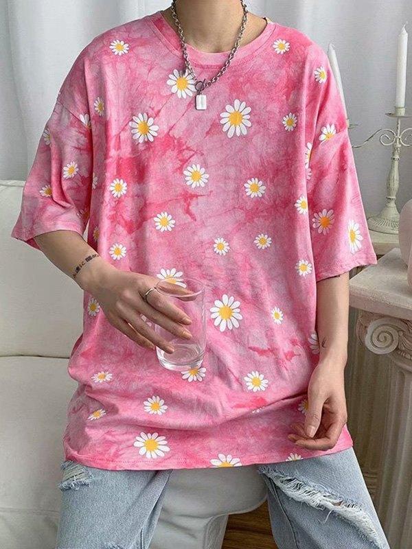 Men's Daisy Tie-Dye Tee - Pink L