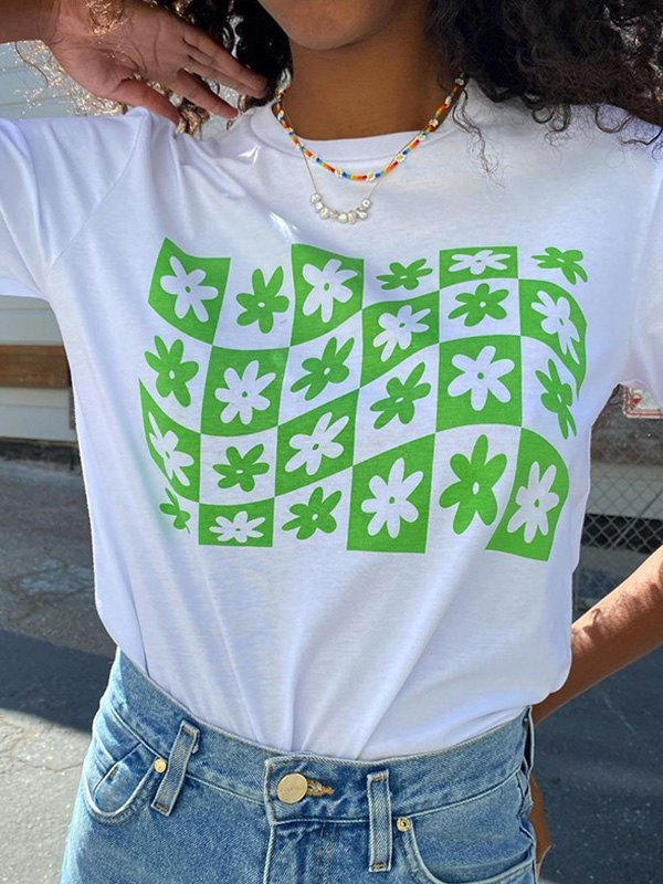 Short Sleeve Checkered Print Tee - Green S