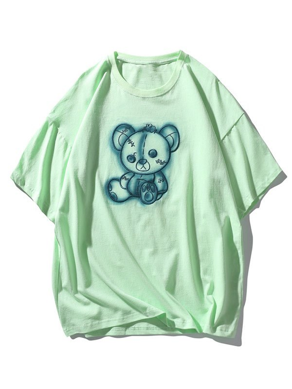 Men's Tattered Bear Embroidered Tee - Green XL