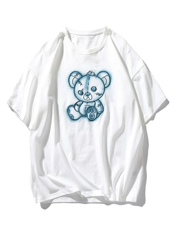 Men's Tattered Bear Embroidered Tee - White 2XL